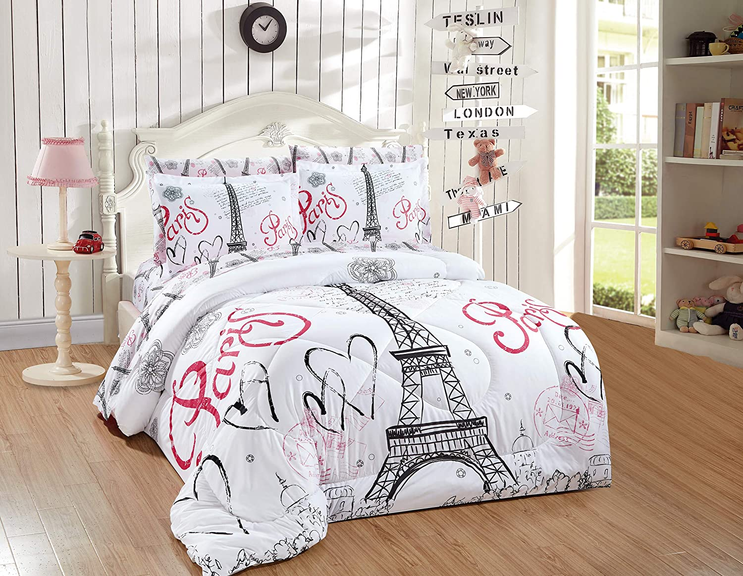 Better Home Style White Black Pink Paris Eiffel Tower Bonjour Design 5 Piece Comforter Bedding Set Bed in a Bag with Complete Sheet Set # FS Paris White (Twin)