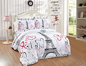 Better Home Style White Black Pink Paris Eiffel Tower Bonjour Design 7 Piece Comforter Bedding Set Bed in a Bag with Complete Sheet Set # FS Paris White (Full)