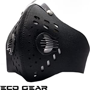 ECO-GEAR Anti Pollution Face Mask with Military Grade N95 Protection | Anti Smoke, Exhaust Gas, Dust, Pollen, Allergens | Hiking, Running, Walking, Cycling, Ski and Other Outdoor Activities