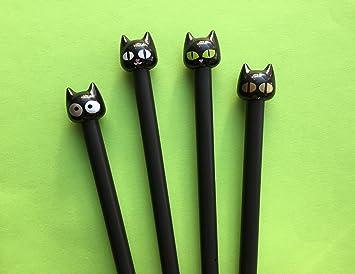 Gato de Kawaii tinta negro bolígrafo de Gel: Amazon.es: Oficina y papelería