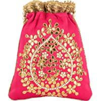 Haphae Ethnic Raw Pink Color silk Potli bag pouch and metal bead handwork Oval design With Pearls handbag gift for women
