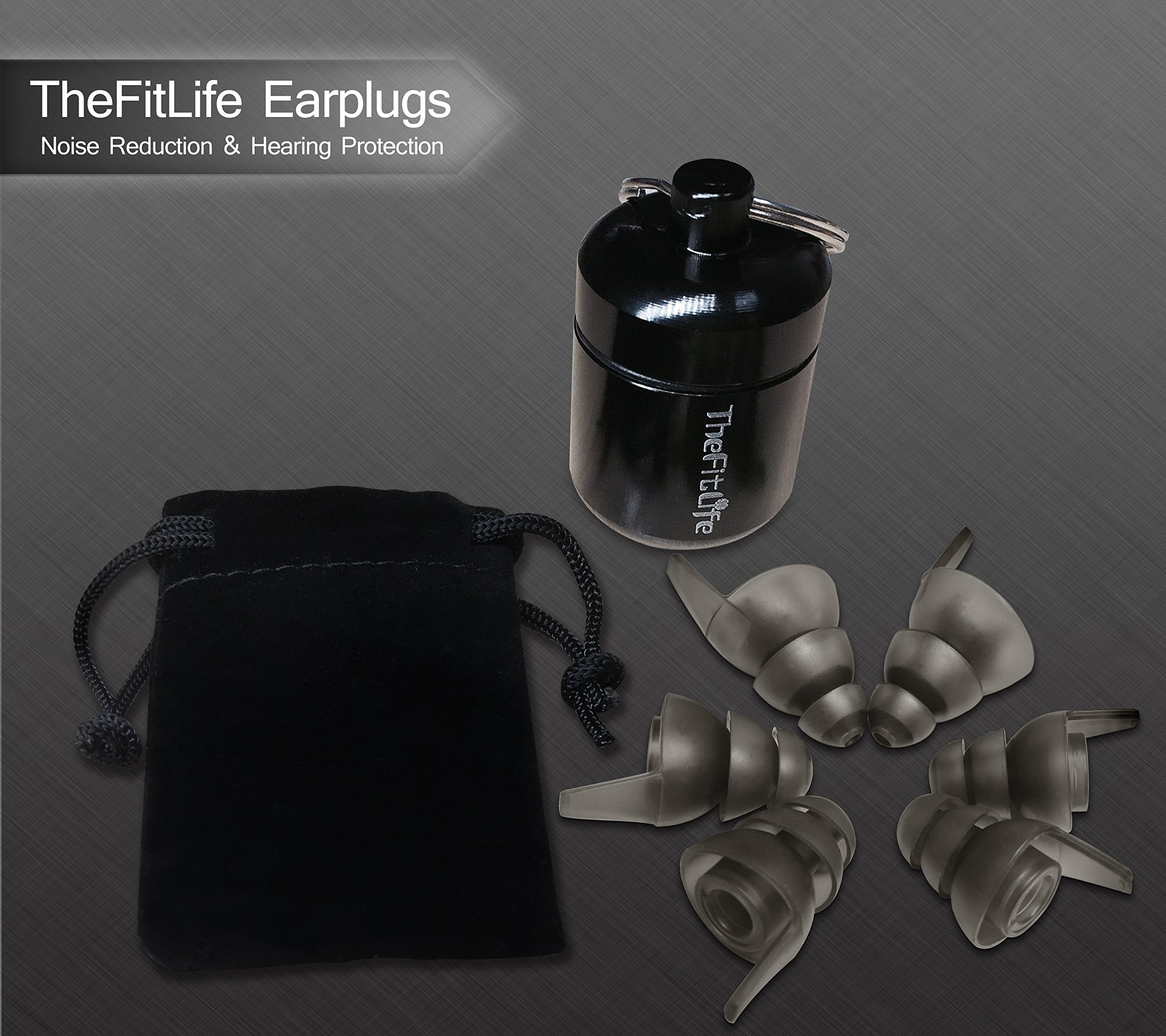 TheFitLife Noise Reduction Ear Plugs - Ultra Comfortable and Reusable Silicone High Fidelity Earplugs with 23dB SNR for Musicians Concerts Motorcycle Shooting 3 Sizes Fit for Kids Men Women (Black) by TheFitLife (Image #5)