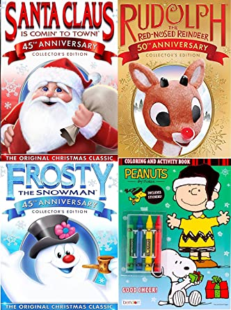 frosty rudolph santa classic animated dvd family holiday fun bonus charlie brown christmas coloring book - Classic Animated Christmas Movies