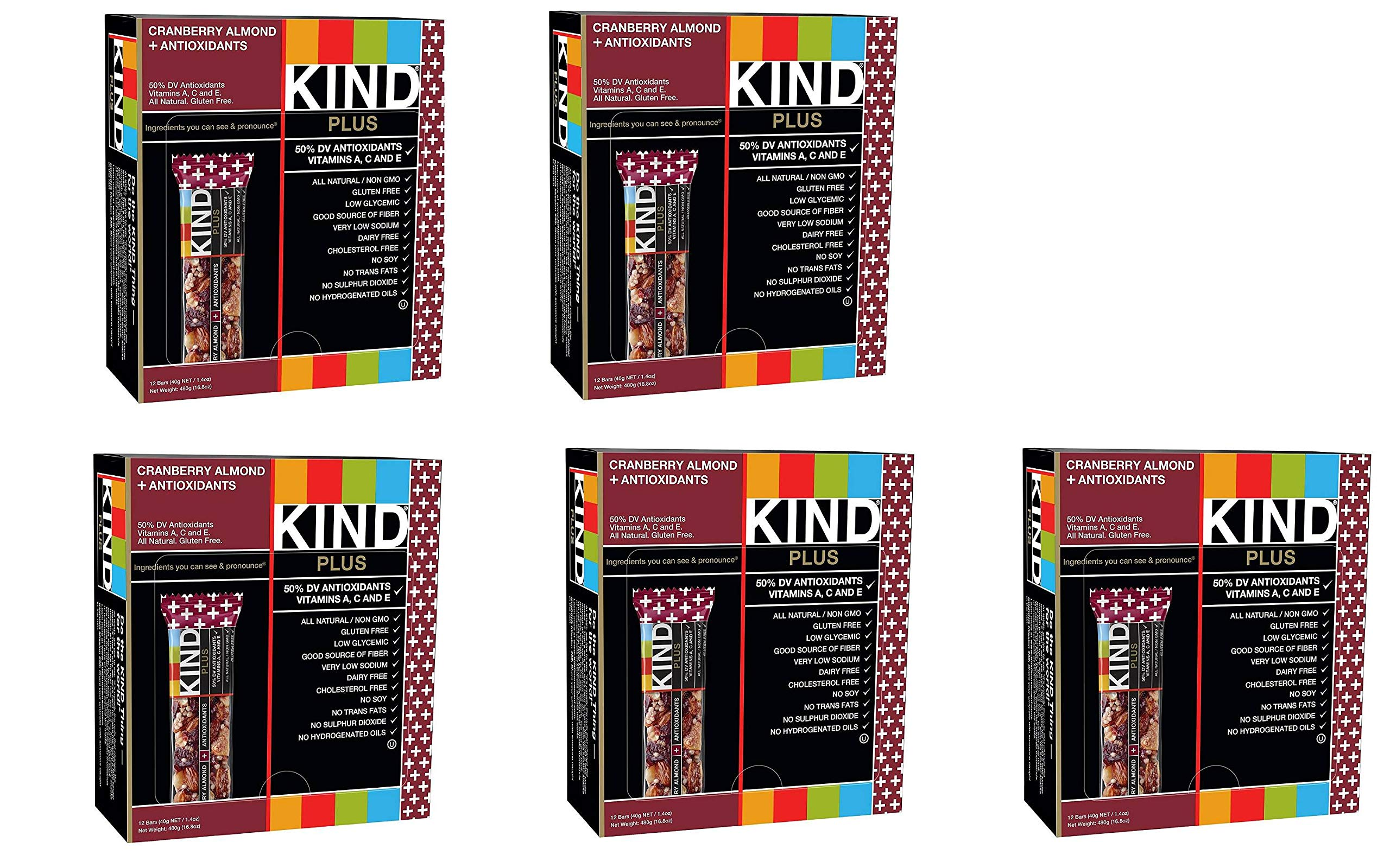 KIND Bars, Cranberry Almond plus Antioxidants with Macadamia Nuts, Gluten Free, Low Sugar, 1.4oz, 60 Bars by KIND (Image #1)