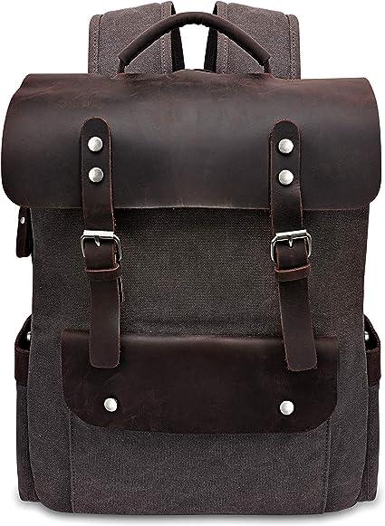 Women Men Canvas Leather Travel Sports Backpack Satchel Rucksack Laptop Bag