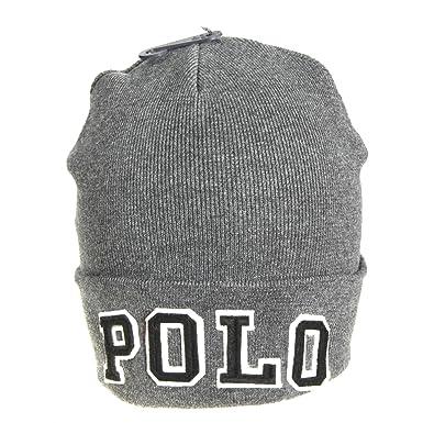 cc1aebc3359 Bonnet Ralph Lauren Polo gris anthracite pour homme  Amazon.fr  Vêtements  et accessoires