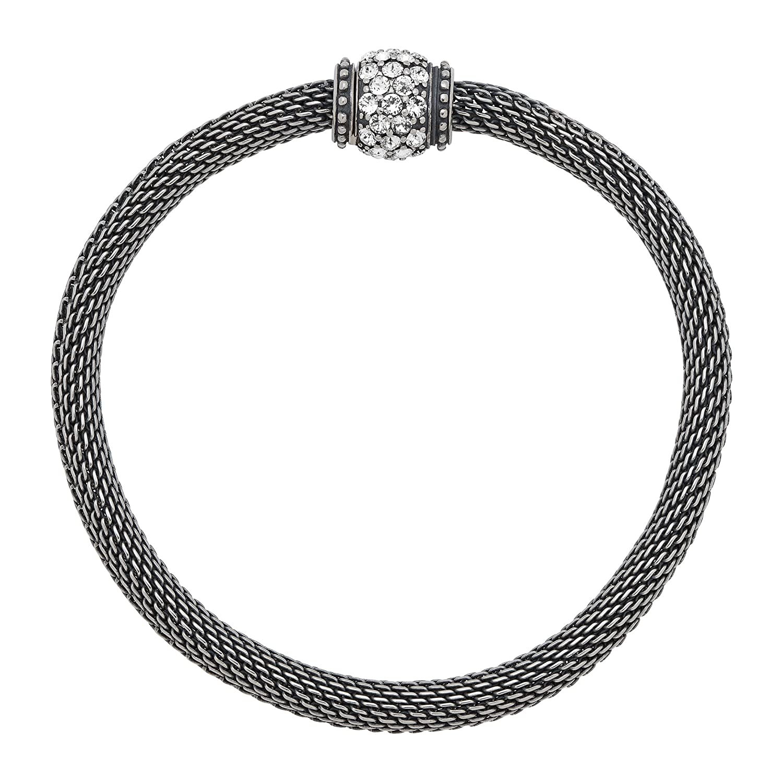 "Silpada 'Mesh Together' Sterling Silver and Swarovski Crystal Stretch Bracelet, 7"""