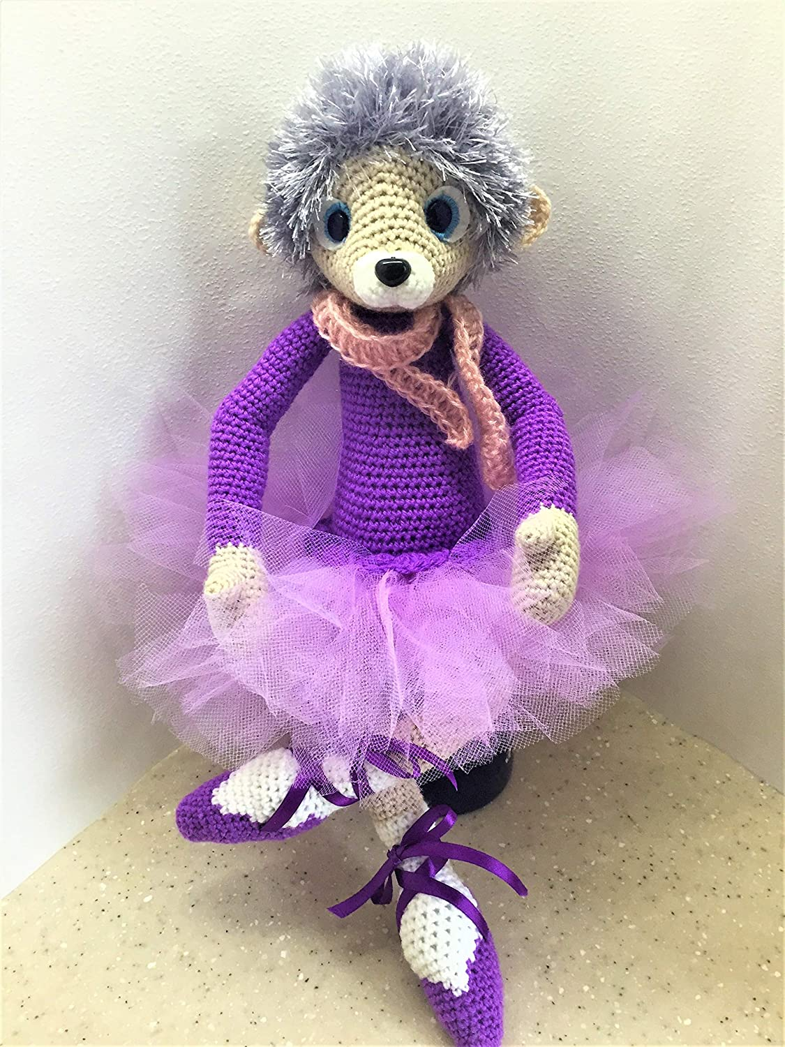 Toy Hedgehog for Children or Home Decor Knitted Doll Ballerina Soft Toy Hedgehog Dancing Doll Hedgehog Handmade Interior Toy