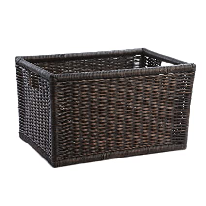 The Basket Lady Wicker Kitchen Cabinet Basket Pantry Basket Small Antique Walnut Brown