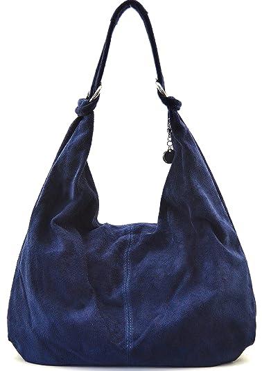 9d8ba4bcd6 Cuir-Destock sac à main cuir nubuck femme porté main et épaule Modèle bloom  bleu