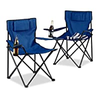 Relaxdays Campingstuhl 2er-Set, Rückenpolster, Getränkehalter, faltbar, Klappstuhl H x B x T: 82 x 78 x 50 cm