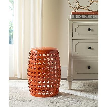 Safavieh Castle Gardens Collection Lacey Orange Glazed Ceramic Garden Stool