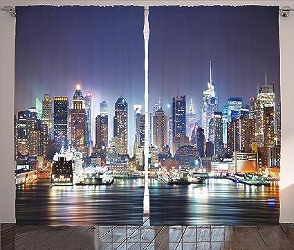 Amazon.com: Ambesonne Navy Curtains New York City Decor, Manhattan ...