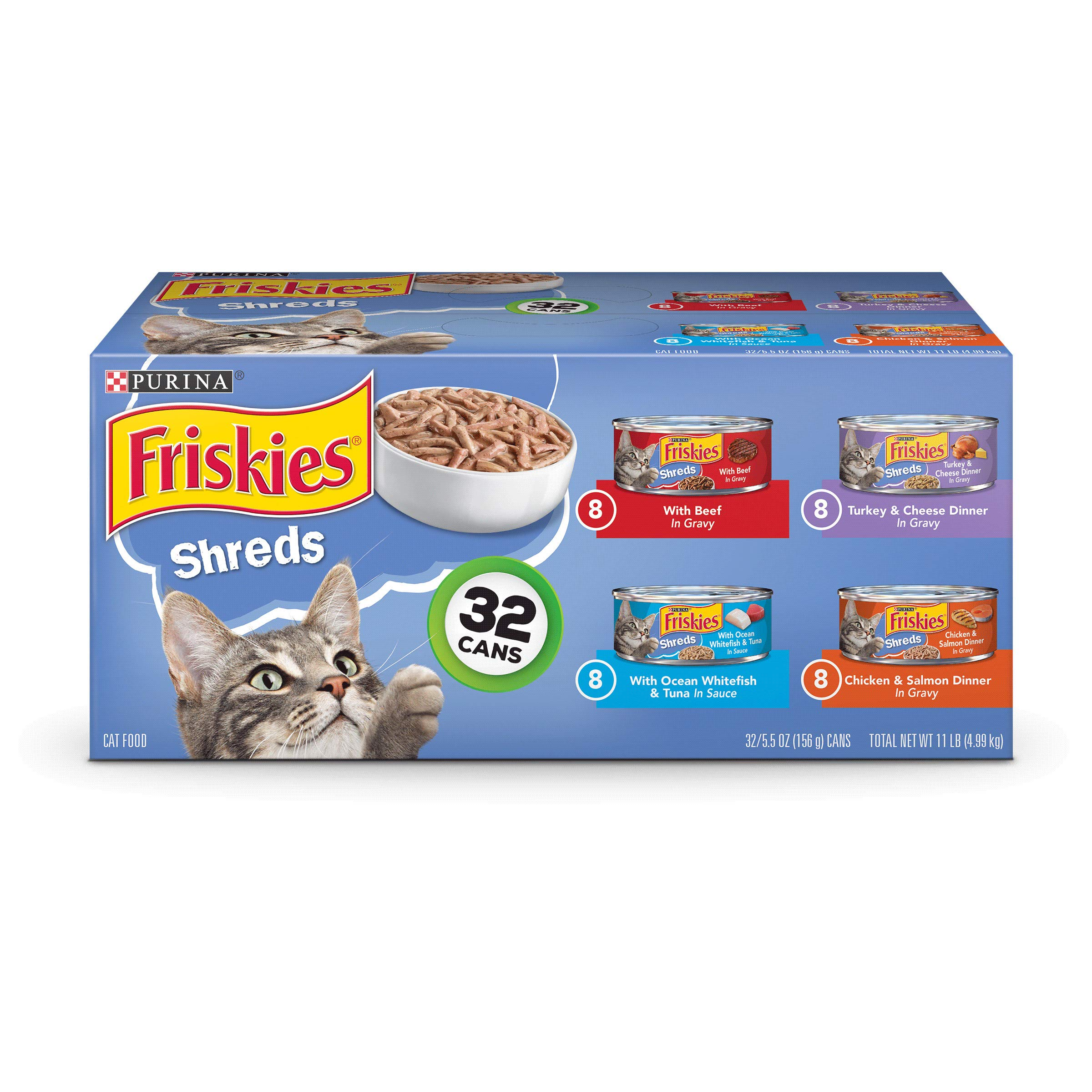 Purina Friskies Savory Shreds Adult Wet Cat Food Variety Pack - (32) 5.5 oz. Cans