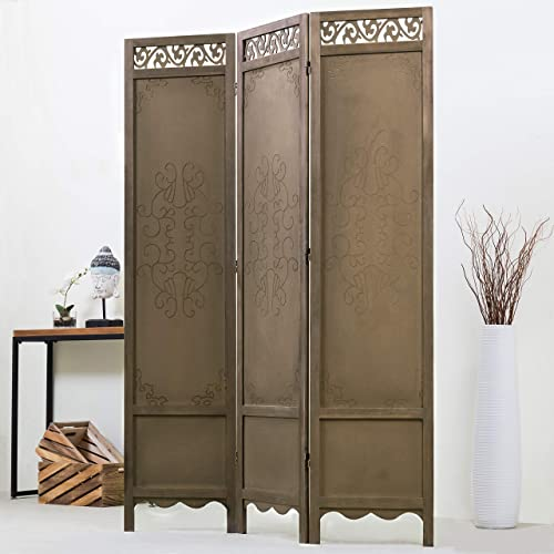 MyGift 3-Panel Antique Cutout Scrollwork Brown Wood Room Divider