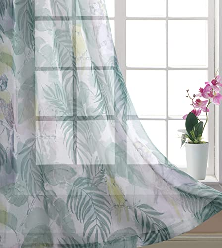 Gold Dandelion Floral Curtains Tropical Painting Printed Parrot with Tree and Laves Fashion and Stylish Home Fashion Sheer Window Draperies for Living Room 52 Wide by 95 Long Green 1 Pair
