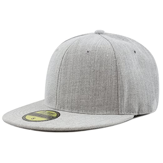 051d590826d26 THE HAT DEPOT 1300 New Heather Grey Fitted Flat Bill Quality Plain Cap  (Large)