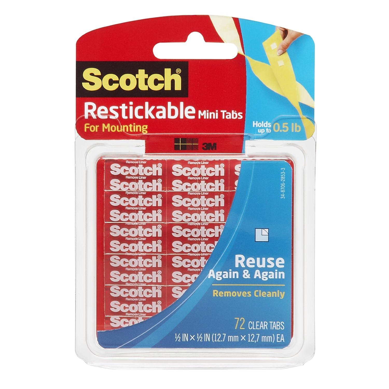 3M SCOTCH RESTICK TABS 25.4X 25.4MM CLR R100