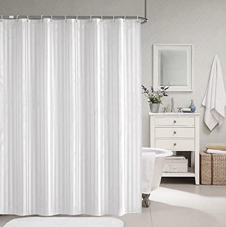 Welwo Bathroom Shower Curtains With Hooks Set   69 X 75 Inches Long Shower  Curtain White