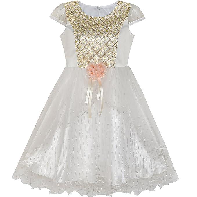 69f21fd97 Sunny Fashion Vestido para niña Flor Shinning Boda Pageant Fiesta 3 años