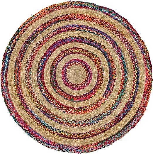 Indian Arts Fair Trade - Alfombra de yute y algodón, 100 % trenzada, 150 cm, multicolor: Amazon.es: Hogar
