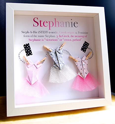 Personalized name origin and meaning baby gift paper origami personalized name origin and meaning baby gift paper origami shadowbox frame with ballerina tutus custom newborn negle Image collections