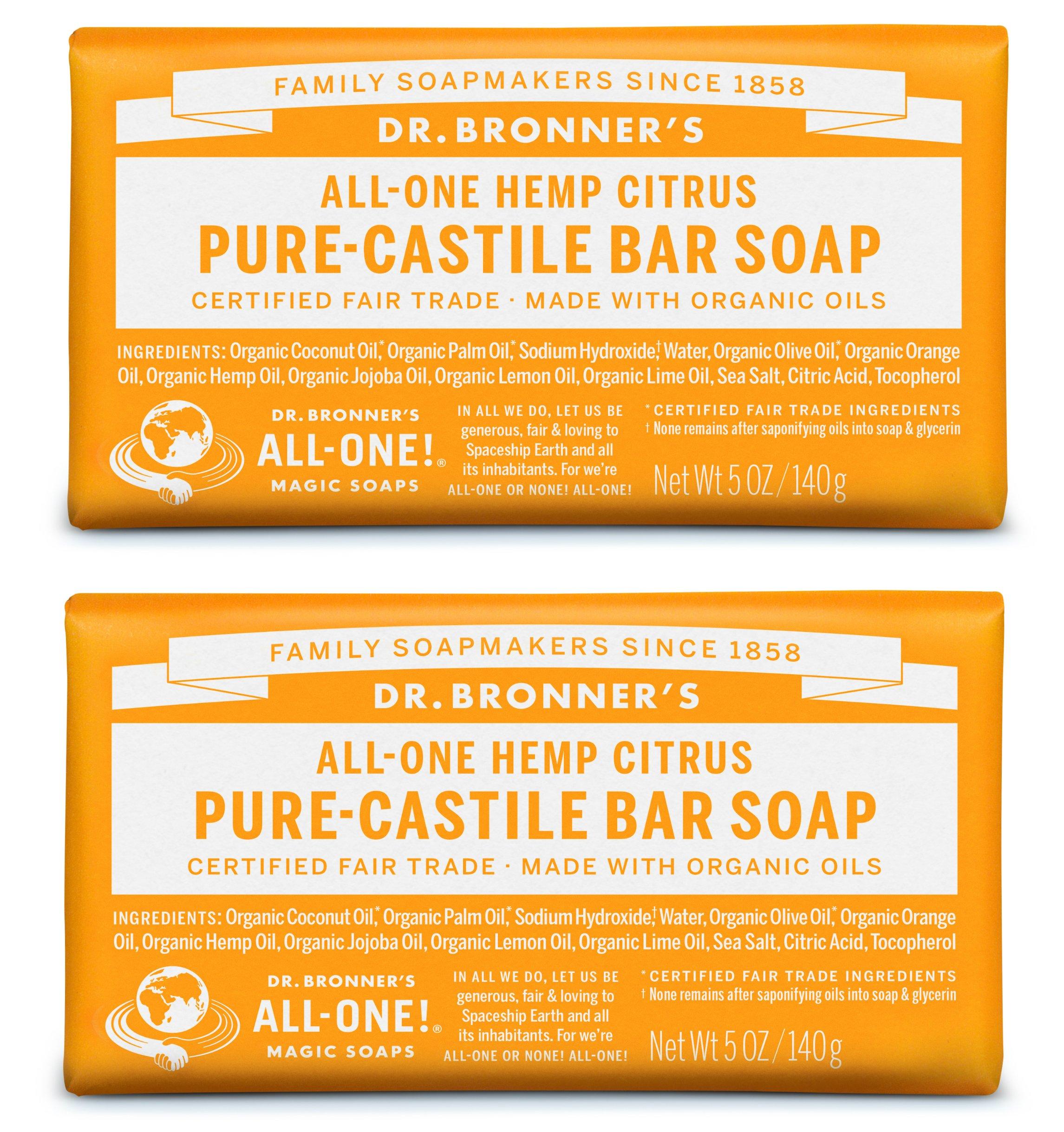 Dr. Bronner's Pure-Castile Bar Soap – Citrus (2 Pack)