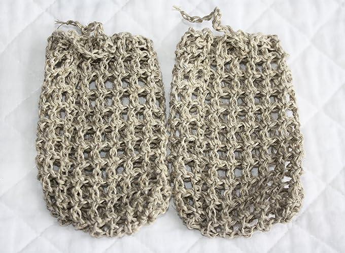 Amazon Set Of Two Crocheted Hemp Soap Bags Soap Savers Handmade