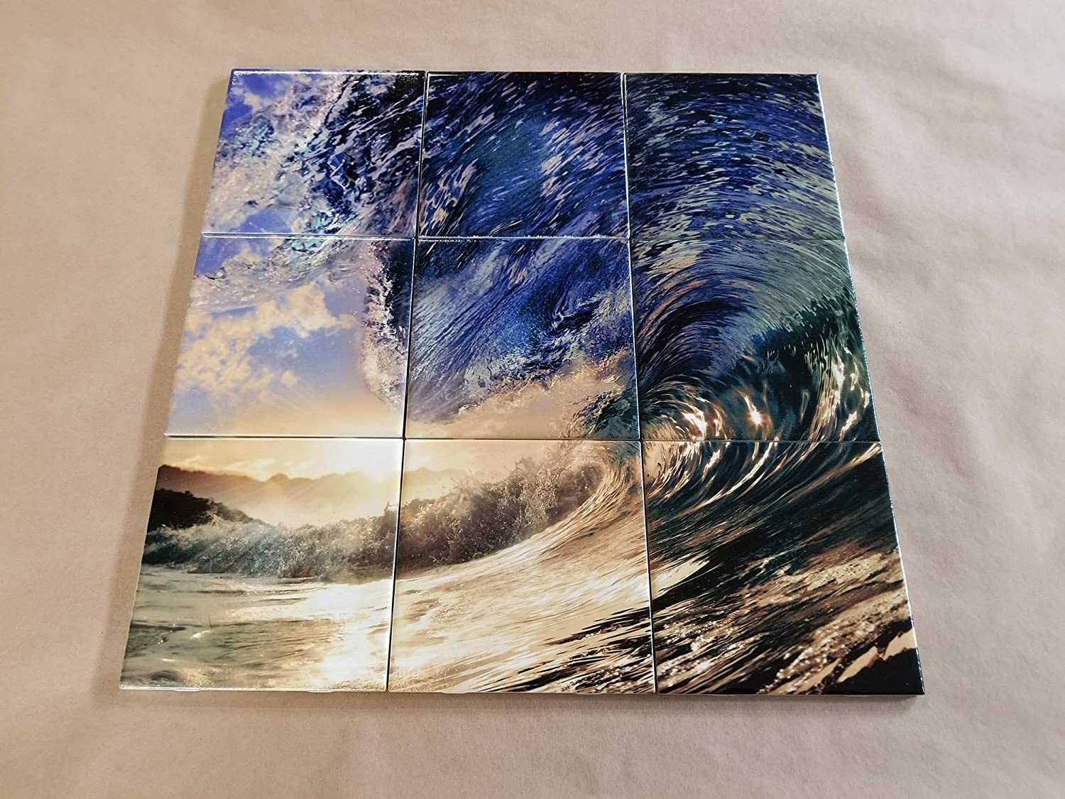 Amazon Ihave4kings Closeout Sunset Wave Graphic Ceramic Tile