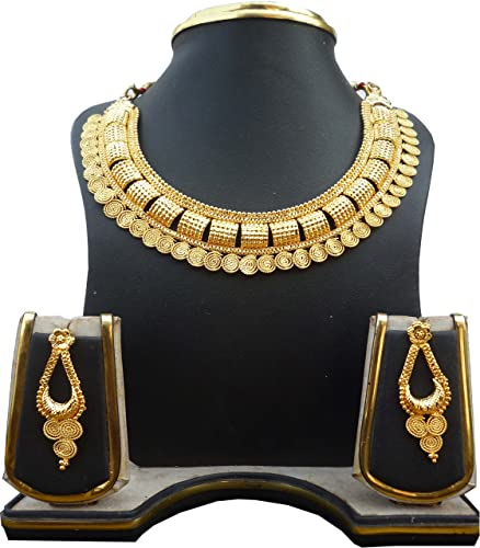 Indian Women Gold Plated Pearl Pendent Necklace Set Fashion Wedding Jewelry Gift