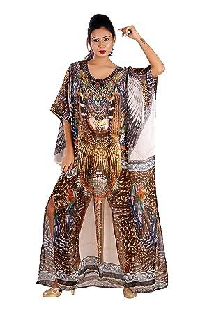 caf98950b0 Silk kaftan one Piece Dress Jeweled/Handmade/Caftan Beach Cover up ...