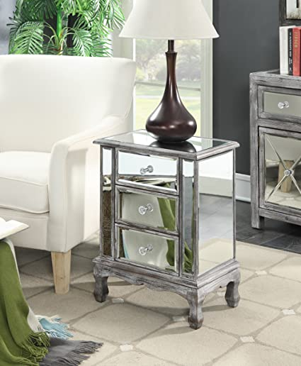 3 Drawer Mirrored End Table, Add A Touch Of Elegance And Glam To Your