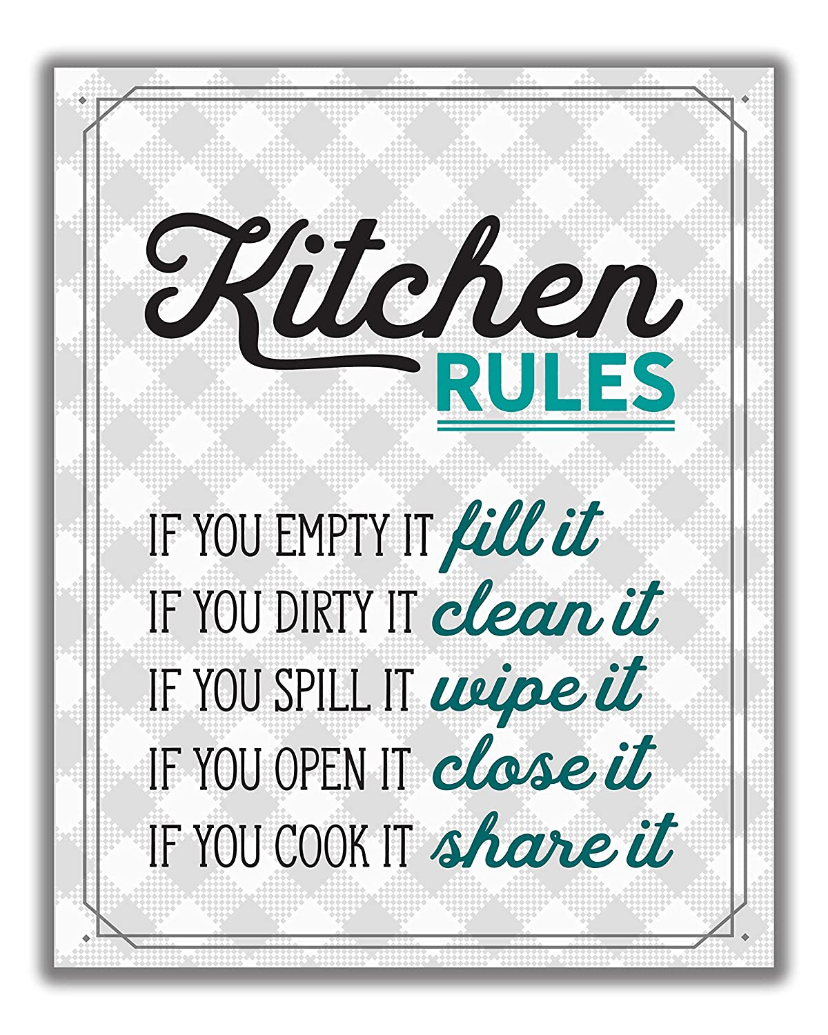 Teal Blue Retro Kitchen Rules Wall Art - 8x10 UNFRAMED Gray, Teal Blue & White Funny Kitchen Print Perfect for Modern Farmhouse, Rustic, Vintage, Cottage, Country Decor.