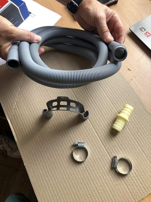 2,5 m lang f/ür Waschmaschine Sp/ülmaschine Trockner ABC Products Ablaufschlauch-Verl/ängerungsset