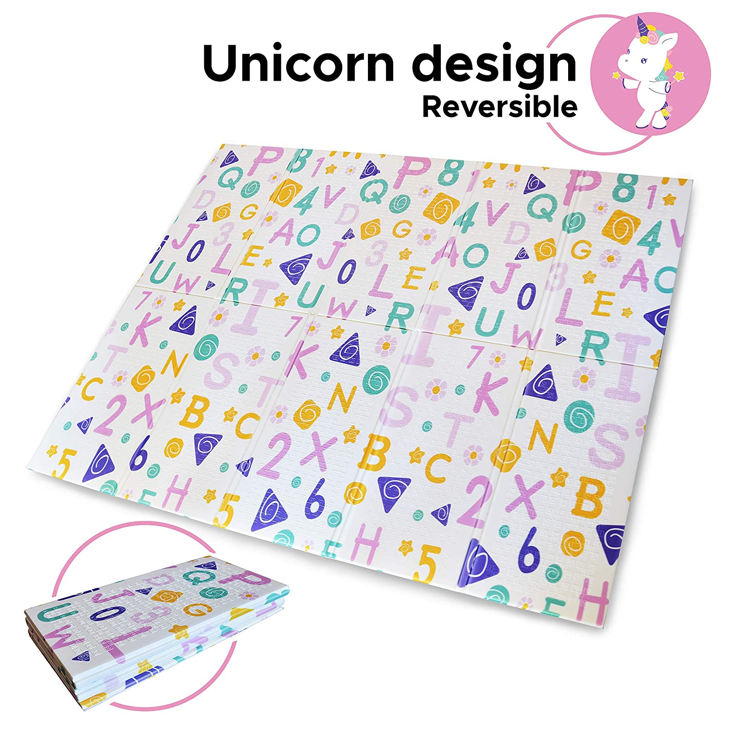 Baby Folding Play Mat Reversible Crawl Playmat. Toddler Unicorn and Educational Designs. XPE and BPA Free Waterproof Non Toxic Material. Pack n Play Outdoor or Indoor Use. 78x61x0.4 in Throwback Traits