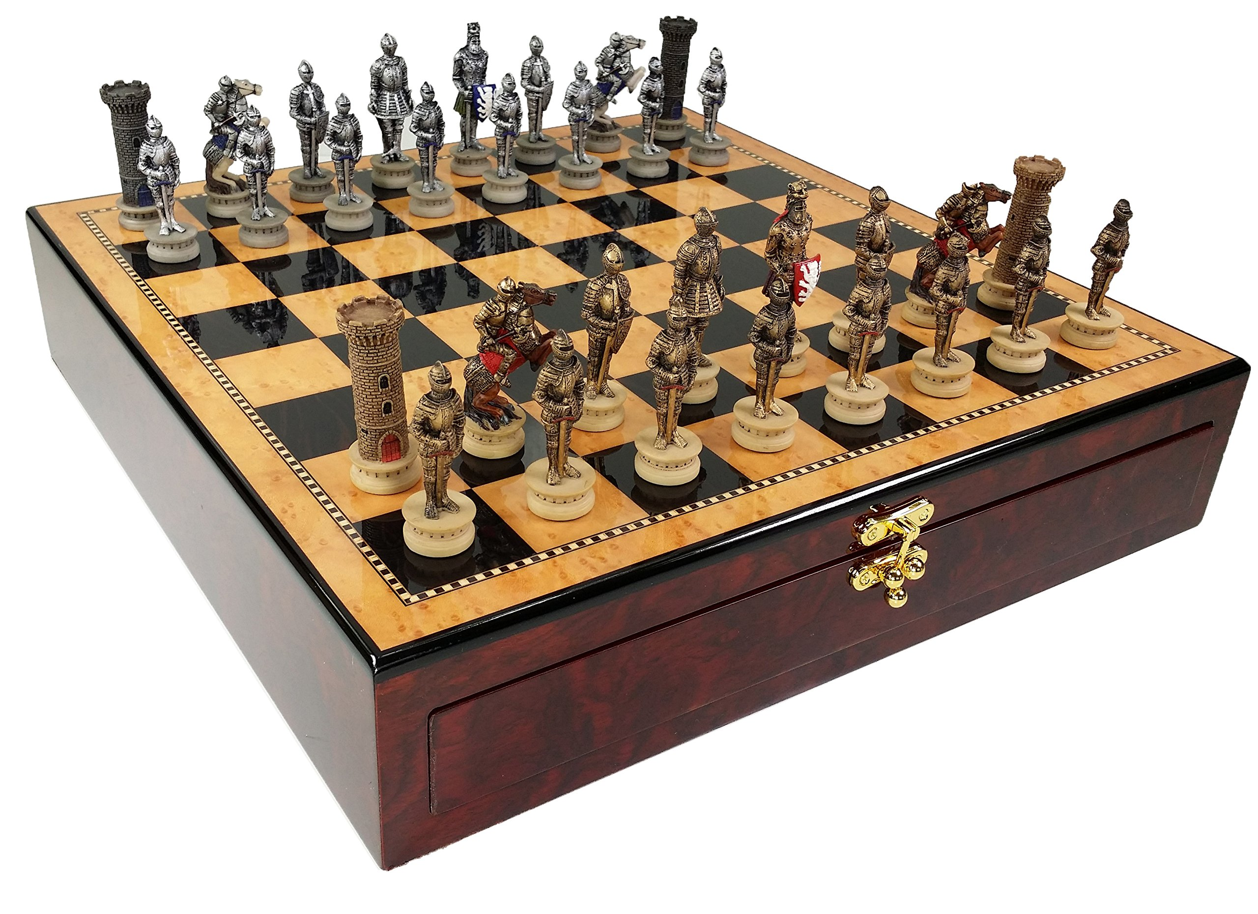 Medieval Times Crusades Gold & Silver Warrior Knights Chess Set W/ 17'' Dark Walnt & Birdseye Maple Color Gloss Storage Board