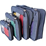 Compression Packing Cube Set of 4 (Small, Medium, Large, and Extra Large) | Compresses to fit more in less space | Luggage Organizer for Travel (Dark Blue)