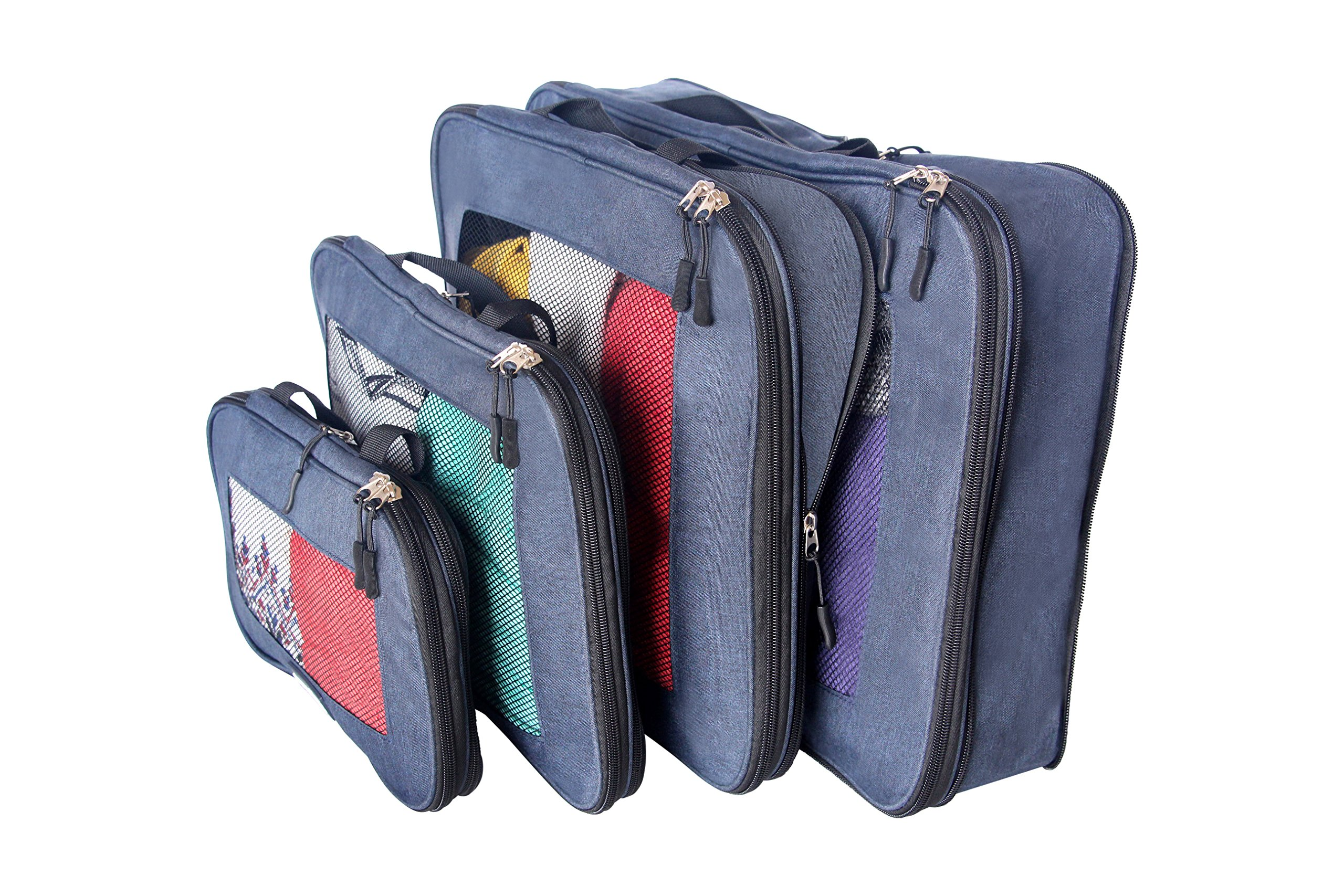 travelbug Compression Packing Cubes Set of 4 (Small, Medium, Large, and Extra Large) | Compresses to fit More in Less Space | Luggage Organizer for Travel (Dark Blue)