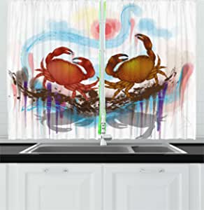 Adorise Print Outdoor Curtains Sea Animals Theme Set of Hermit Crabs from Caribbean Seascape Darkening Window Panel Pleasing to The Eye Durable Marigold White W55 x L63 Inch