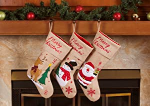 "Imperial Home 3 Pcs Set - Classic Christmas Stockings 18"" Cute Santa's Toys Stockings (Burlap Snowflakes)"