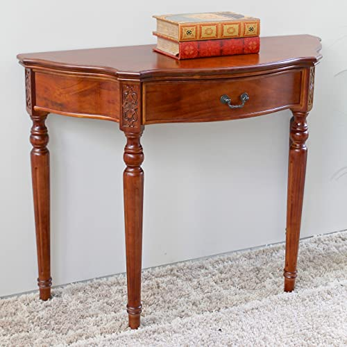International Caravan Hand Carved Wood 1-Drawer Console Table
