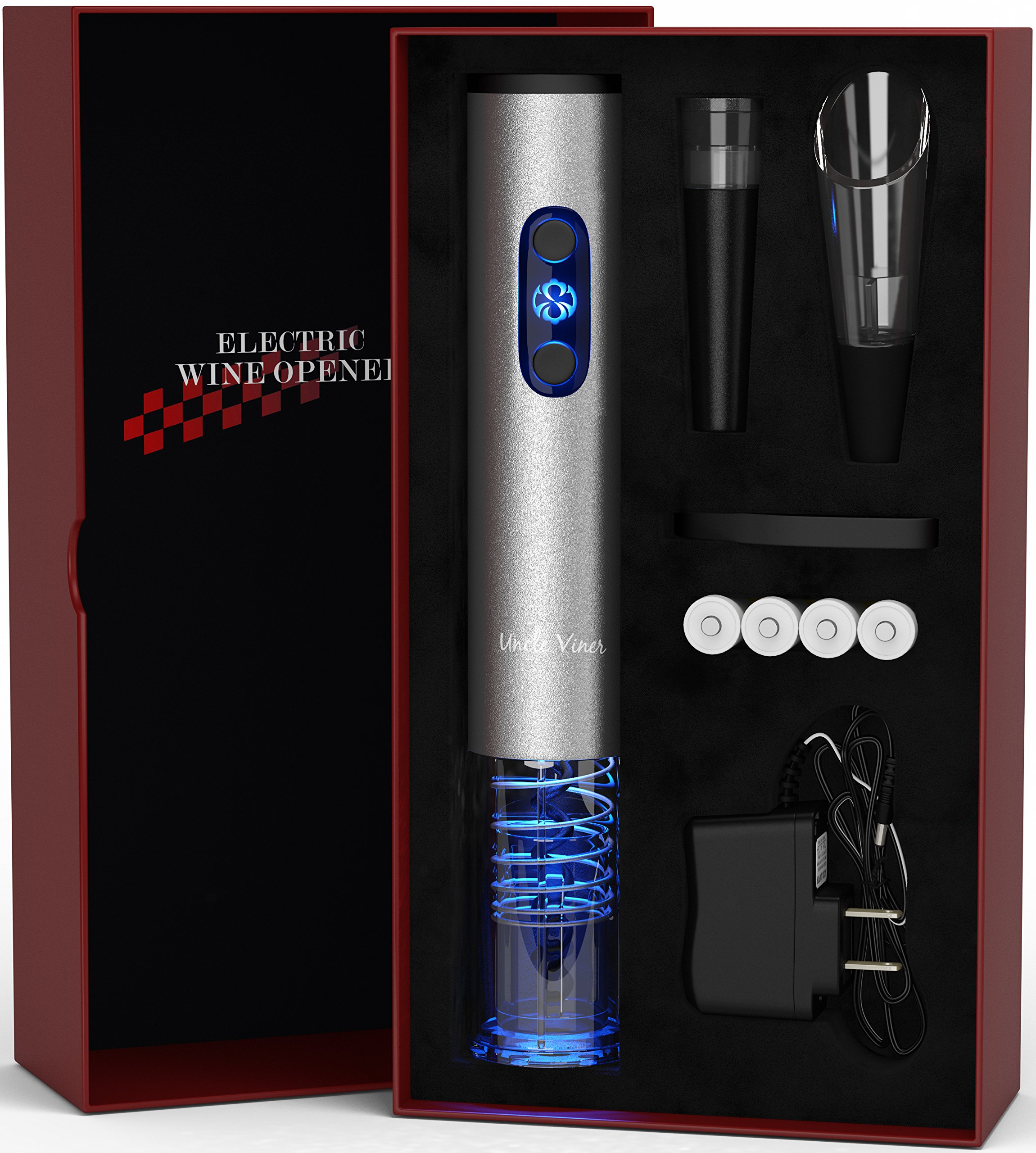 Electric Wine Opener with Charger- Wine Accessories Holiday Gift Set Holiday Kit with Batteries and Foil Cutter- Uncle Viner G105