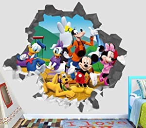 """Mickey Mouse Club Wall Decal Smashed 3D Sticker Vinyl Decor Mural Kids - Broken Wall - 3D Designs - OP464 (Large (Wide 40"""" x 36"""" Height))"""