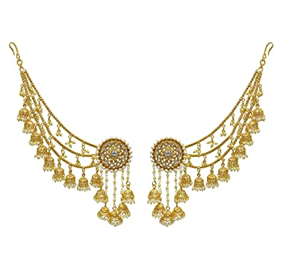Women Eid Gift Bahubali Indian Earrings Jhumki Jhumka Sahara Kaan Chain Set NgPfL