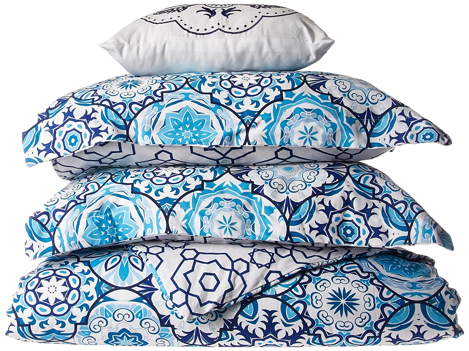 100/% Premium Cotton Reversible Design Aqua Geometric Printed Duvet Cover Set