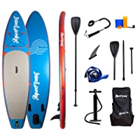 """Aquaplanet 10ft 6"""" x 15cm PACE Stand Up Paddleboard - Kit. Includes Hand Air Pump With Pressure Gauge, Adjustable Aluminium Floating Paddle, Repair Kit, Heavy Duty Rucksack & Premium Coiled Leash & 4 Kayak Seat Ring Fittings"""