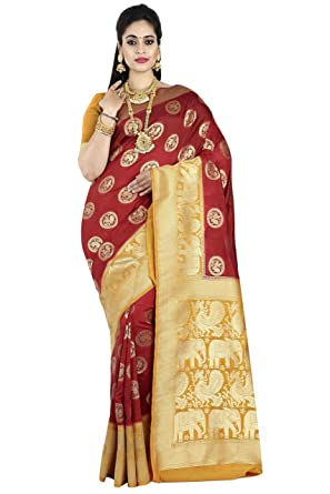 42b507769e arars Women's Kanchipuram Silk Saree with Blouse Piece- (Maroon,Free Size)