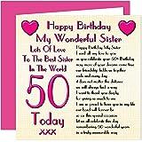 Sister 50th Happy Birthday Card