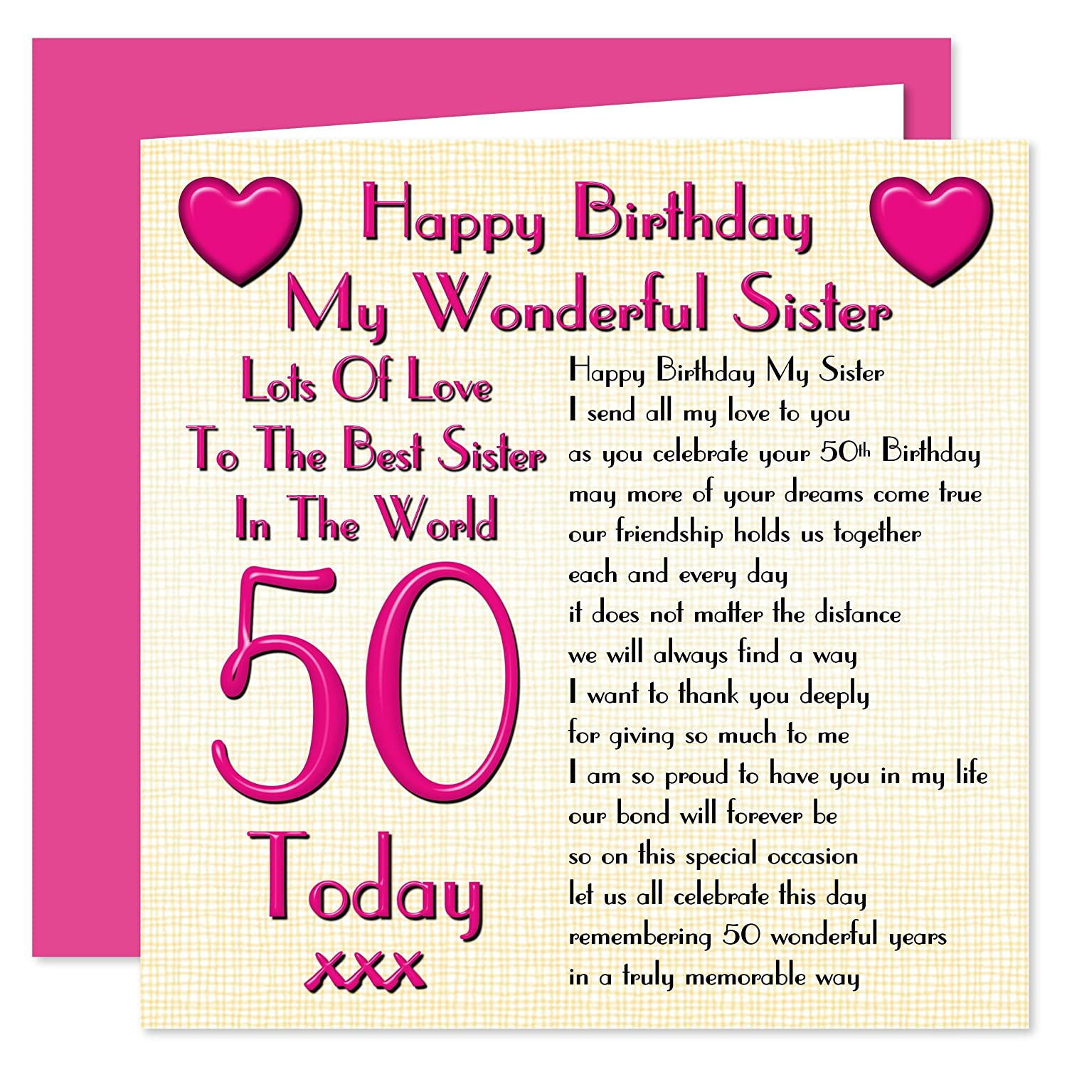 Sister 50th Happy Birthday Card