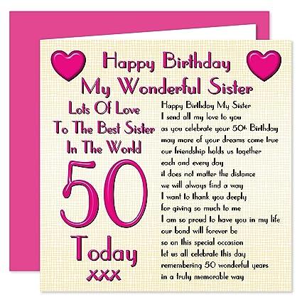 Hermana 50 Tarjeta de felicitación de cumpleaños - Lots Of ...